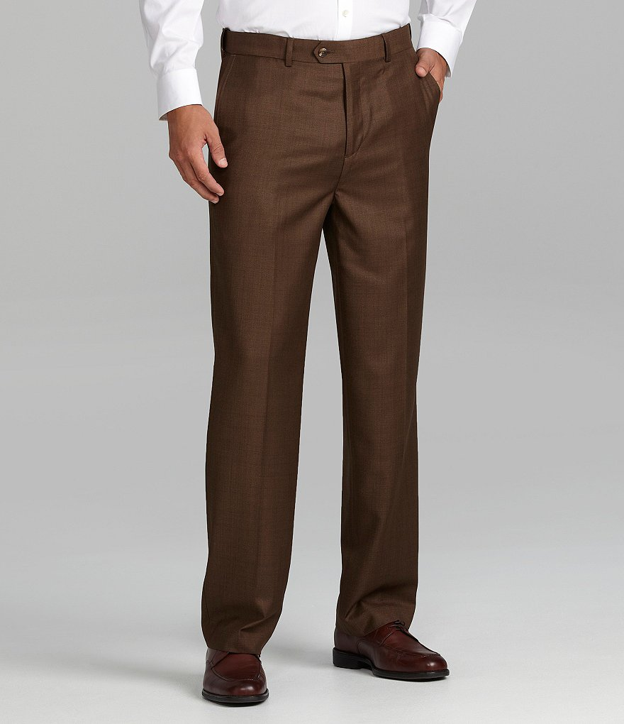Roundtree & Yorke Luster Gab Flat-Front Expander Dress Pants