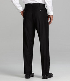 Roundtree & Yorke Luster Gab Double-Pleated Expander Dress Pants