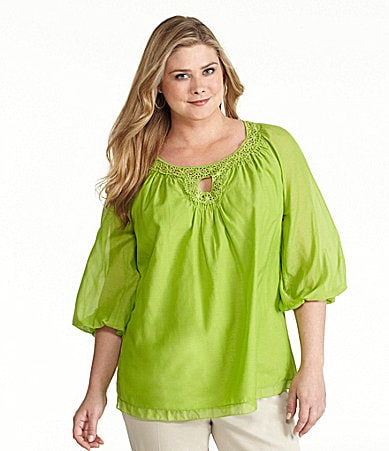 M.S.S.P. Woman Cotton-Silk Keyhole Blouse