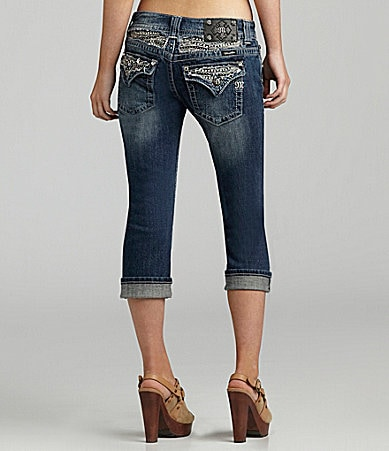 Miss Me Jeans Embroidered-Pocket Capri Jeans
