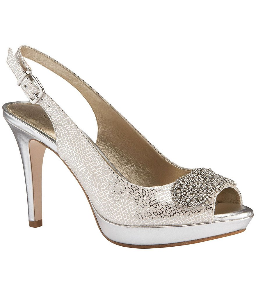 Antonio Melani Sierra Jeweled Peep-Toe Pumps