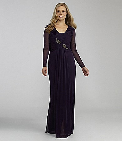 Adrianna Papell Ruched Long-Sleeve Gown