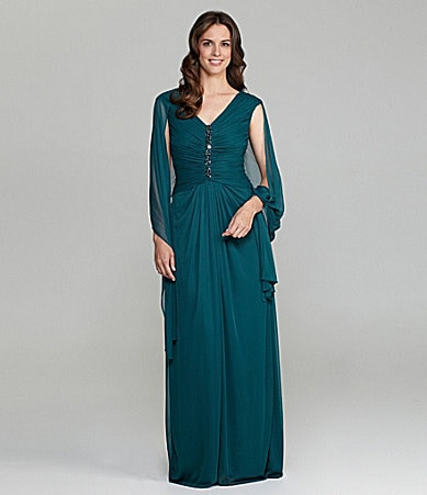 Adrianna Papell Woman Beaded Gown with Shawl