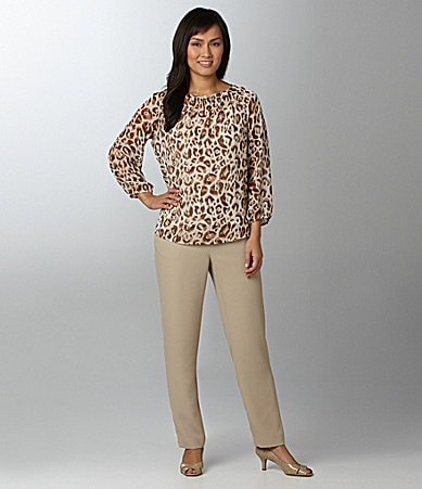 Chaus Animal-Print Peasant Blouse & Easy-Care Crop Pants