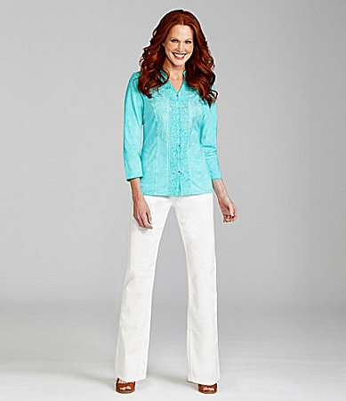 Reba Embroidered Button Front Knit Top & Chelsea Embellished Five-Pocket Jeans