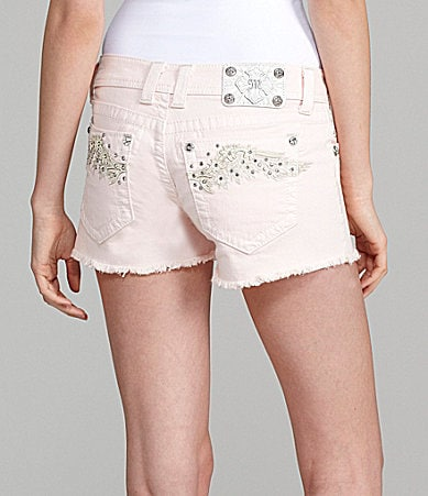 Miss Me Jeans Paradise Wing-Pocket Denim Shorts