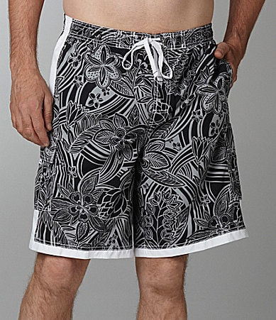 Roundtree & Yorke Big & Tall Hibiscus Side Stripe Swim Trunks