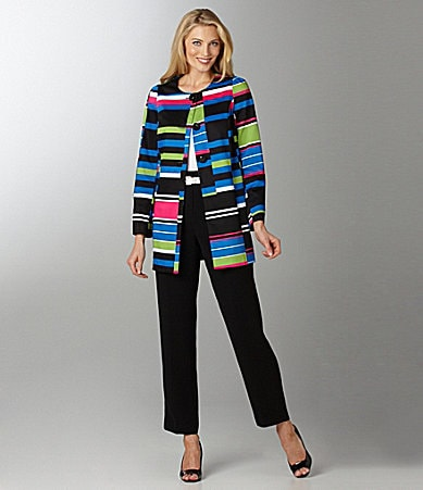Peter Nygard Woman Bold Striped Printed Jacket, Scoopneck Tank & Belted High Waist Pants