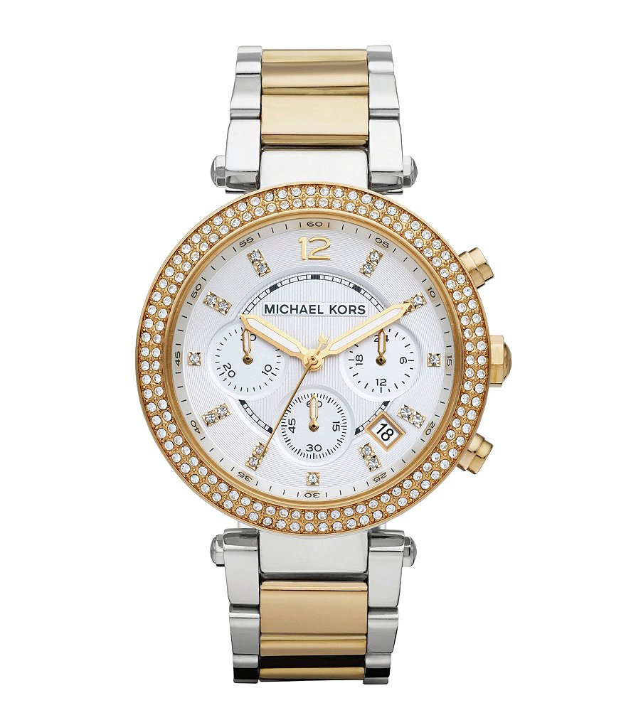 Michael Kors Parker Two Tone Stainless Steel Crystal Chronograph Watch