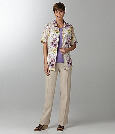 Allison Daley Petites Pucker-Floral Print Camp Shirt, Knit Sleeveless Shell, & Regatta-Linen-Look Pu