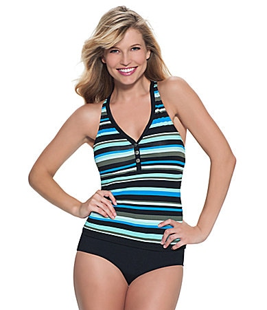 Beach House Rainforest Stripe Racerback Tankini Top & Solid High-Waisted Bottom