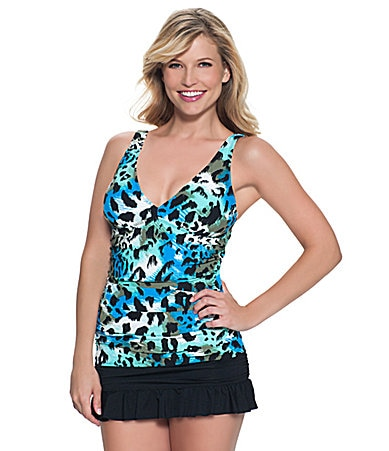 Beach House Mystique Animals Tankini Top & Solid Ruffle Skirted Bottom