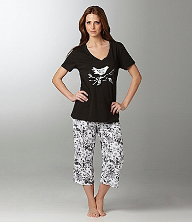 Sleep Sense Bird Print Top & Capris