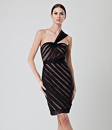 Jill Jill Stuart One Shoulder Mesh Stripe Dress