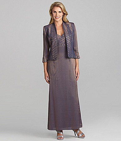 KM Collections Taffeta Jacket Dress