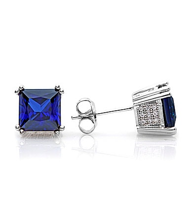 Crislu Square Sapphire CZ Stud Earrings
