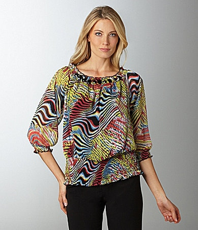 Multiples Shirred Abstract-Print Top
