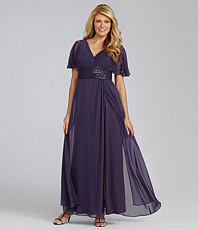 S.L. Fashions Woman Chiffon Flutter-Sleeve Gown