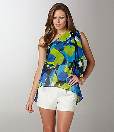Vince Camuto One-Shoulder Floral Blouse & Belted Shorts