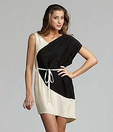 Gold Hawk Asymmetric 2-Tone Silk Dress