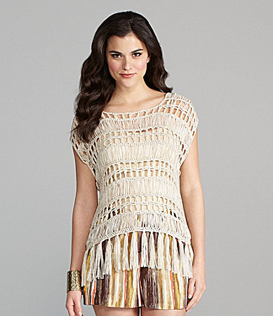 Gianni Bini Tess Fringed Openwork-Knit Top