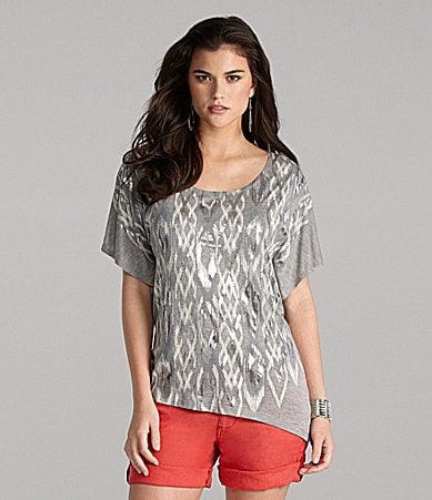 Gianni Bini Vilma Tribal Foil Knit Top