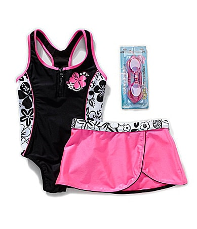 Zero Xposure 7-16 1-Piece Swimsuit, Skirt & Goggles Set