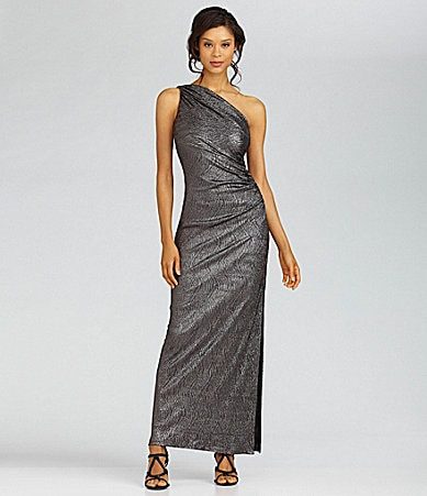 Betsy & Adam One-Shoulder Metallic Gown