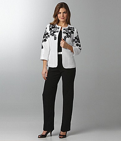 Peter Nygard Petites  Embroidered Floral Cutout Jacket , Scoopneck Tank & Belted High Waist Pants
