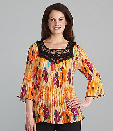 Investments Floral Crochet-Neck Blouse