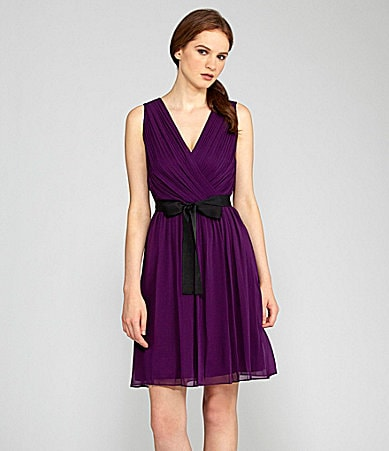 DKNY Sleeveless Ribbon-Belt Dress