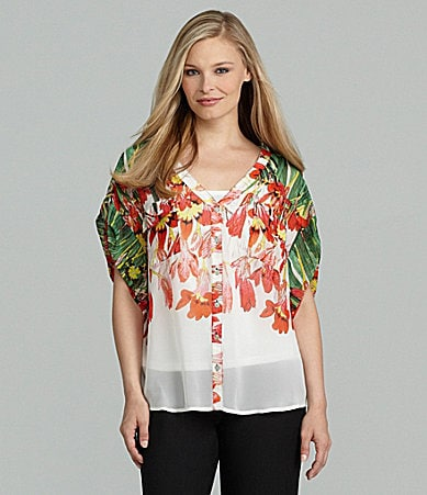 Investments Tulip-Print Roll-Tab Shirt