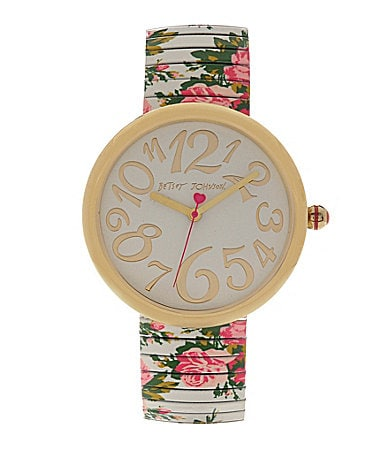 Betsey Johnson Lots N� Lots of Time White Floral Watch