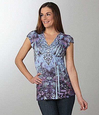 One World Apparel Print Lace-Trim Henley Top