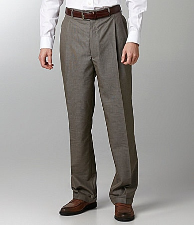 Roundtree & Yorke Big & Tall Easy Care Pleated Cuffed Dress Pants
