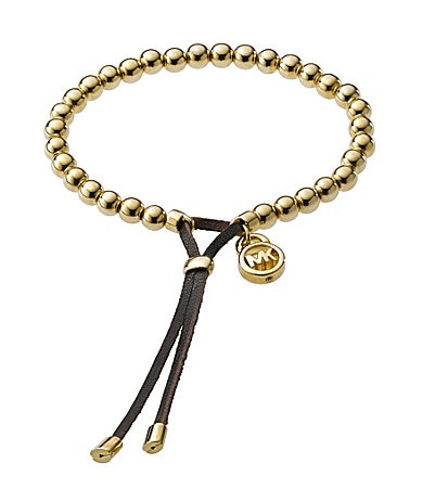 Michael Kors Leather Beaded Stretch Bracelet