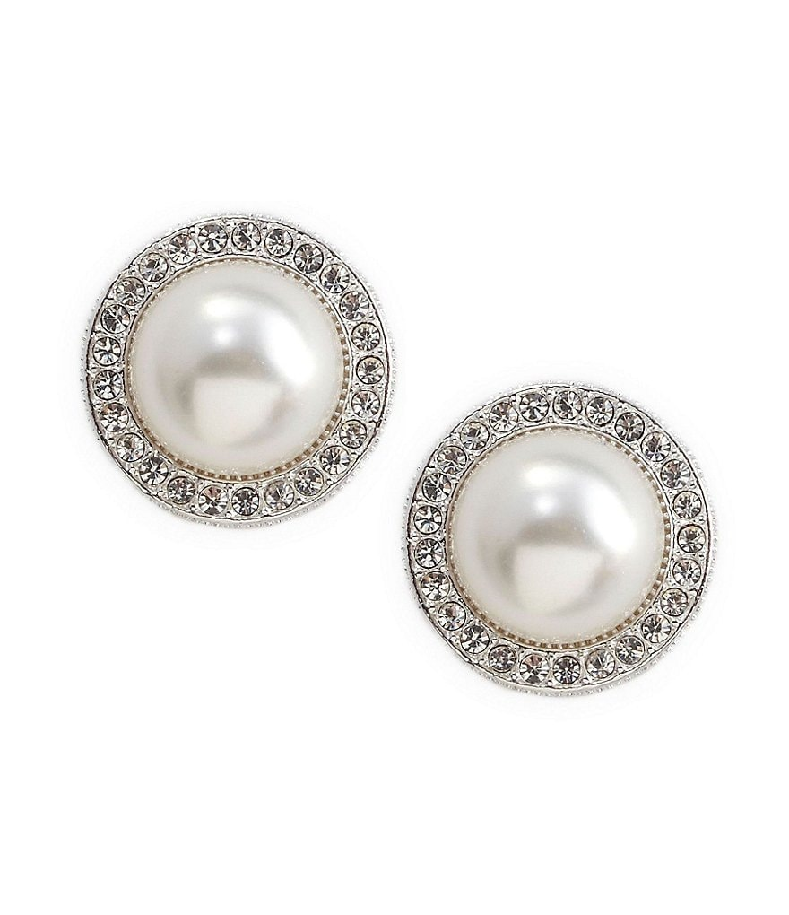Nadri Pearl Pavé Frame Stud Earrings