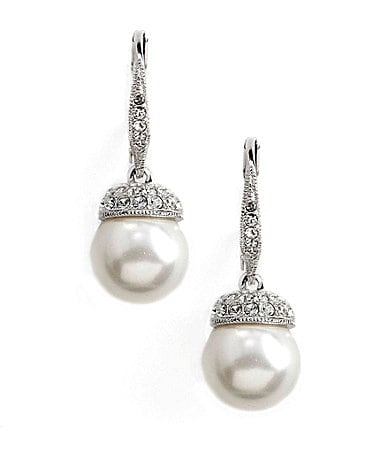 Nadri Pearl Pave 10mm Drop Earrings