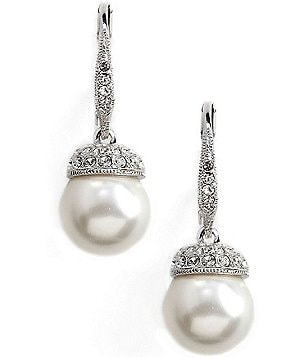Nadri Pearl Pavé Drop Earrings