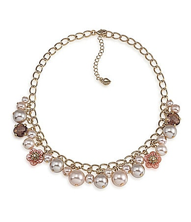 Carolee Slight Blush Frontal Cluster Necklace