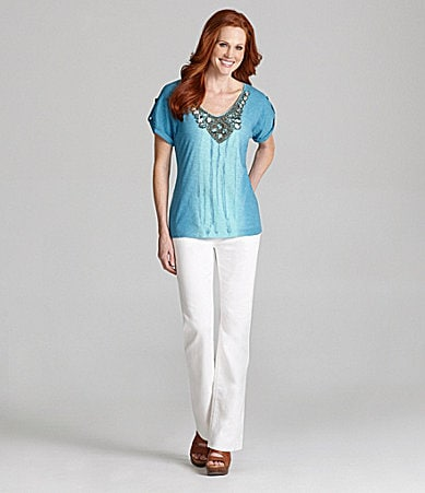 Reba Embellished Ombre Knit Top & Embellished Five-Pocket Jeans
