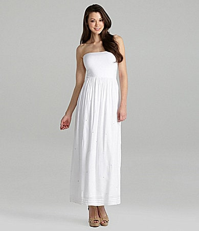 Greylin Strapless Mirror-Accent Maxi Dress
