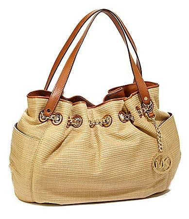 MICHAEL Michael Kors Jet Set Chain Ring Straw Tote
