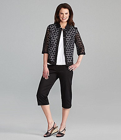 TanJay Eyelet Lace Button Front Jacket, Microfine Jersey Shell & Stretch Sateen Comfort-Waist Capri