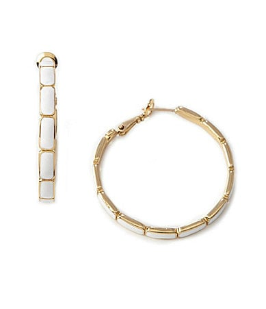 kate spade new york Park Guell White Hoop Earrings