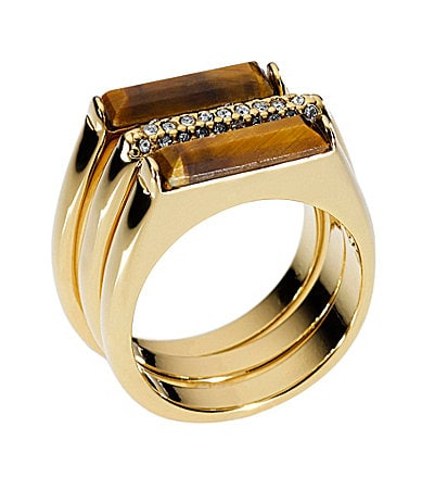 Michael Kors Tiger�s Eye Pave Bar Stack Rings