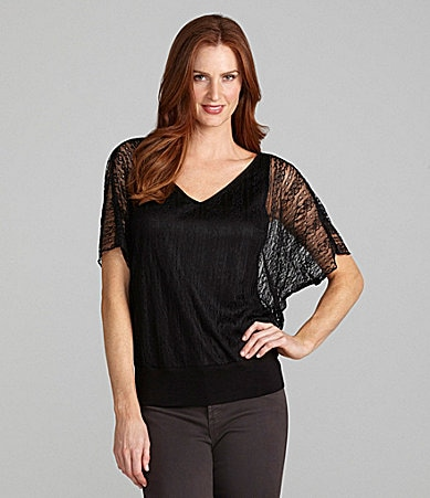 I.N. Studio Lace Double V-Neck Top