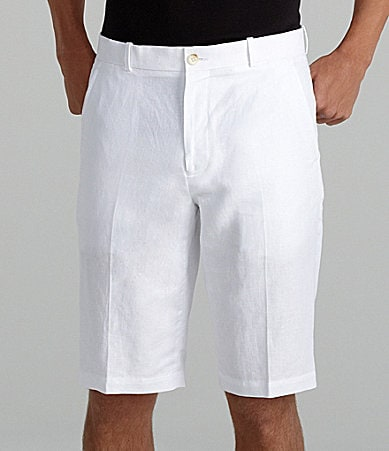 Perry Ellis Flat-Front Herrinbone Shorts