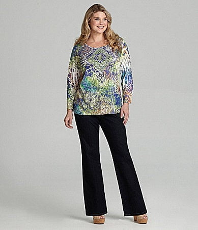 Reba Woman Exotic Animal-Print Sublimation Top & Stretch Denim Pants