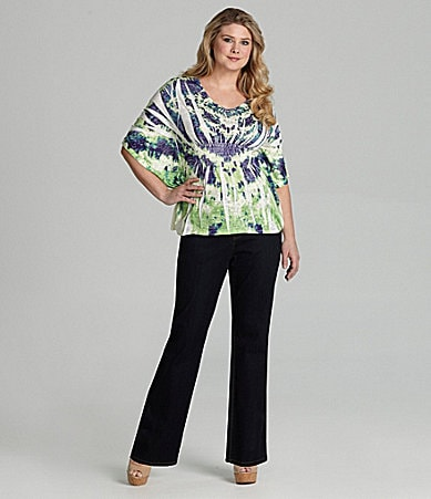 Reba Woman Tie-Dye Butterfly Knit Top & Stretch Denim Pants